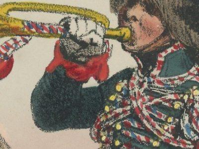 Gravure XIX - Martinet - L'armée française - Uniforme -Soldat - Monarchie de Juillet - 1830 et 1848 - Hussards 7 régiment Trompette