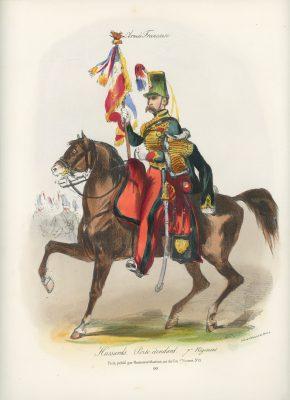 Gravure XIX - Martinet - L'armée française - Uniforme -Soldat - Monarchie de Juillet - 1830 et 1848 - Hussards 7 régiment Etendard