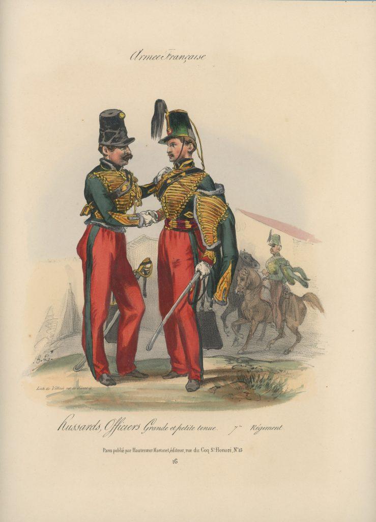 Gravure XIX - Martinet - L'armée française - Uniforme -Soldat - Monarchie de Juillet - 1830 et 1848 - Hussards 7 régiment Officier
