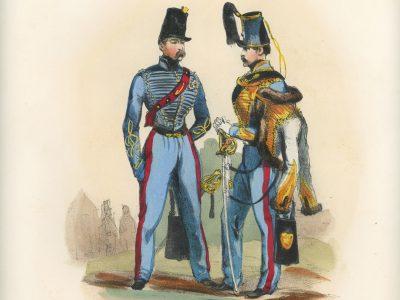 Gravure XIX - Martinet - L'armée française - Uniforme -Soldat - Monarchie de Juillet - 1830 et 1848 - Hussards 8 régiment Officier