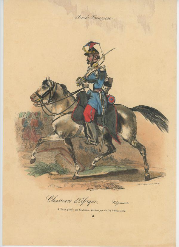 Gravure XIX - Martinet - L'armée française - Uniforme -Soldat - Monarchie de Juillet - 1830 et 1848 - Chasseur d'Afrique