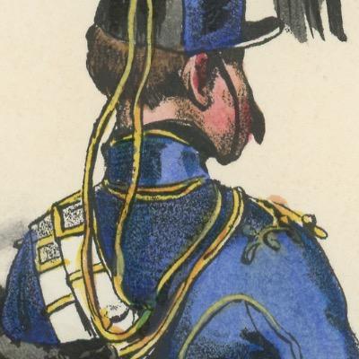 Gravure XIX - Martinet - L'armée française - Uniforme -Soldat - Monarchie de Juillet - 1830 et 1848 - Hussards 8 régiment
