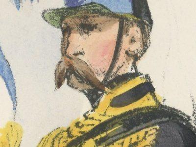 Gravure XIX - Martinet - L'armée française - Uniforme -Soldat - Monarchie de Juillet - 1830 et 1848 - Hussards 9 régiment Etendard