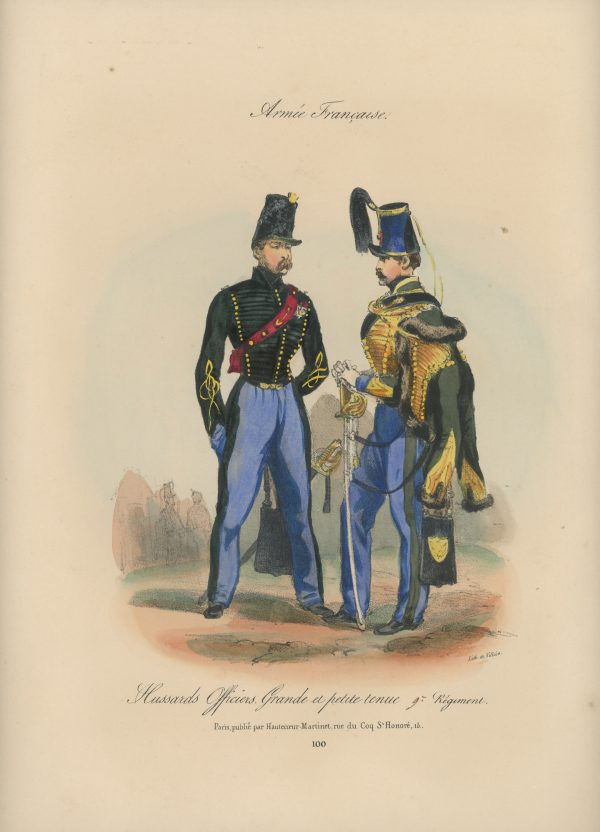 Gravure XIX - Martinet - L'armée française - Uniforme -Soldat - Monarchie de Juillet - 1830 et 1848 - Hussards 9 régiment Officier