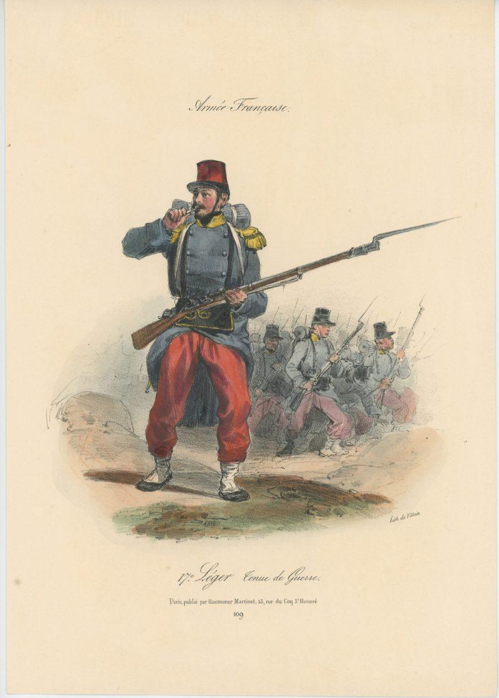 Gravure XIX - Martinet - L'armée française - Uniforme -Soldat - Monarchie de Juillet - 1830 et 1848 - 17ème Léger - Tenue de Guerre
