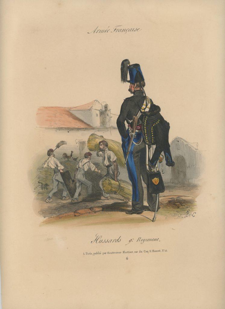 Gravure XIX - Martinet - L'armée française - Uniforme -Soldat - Monarchie de Juillet - 1830 et 1848 - Hussards 9 régiment