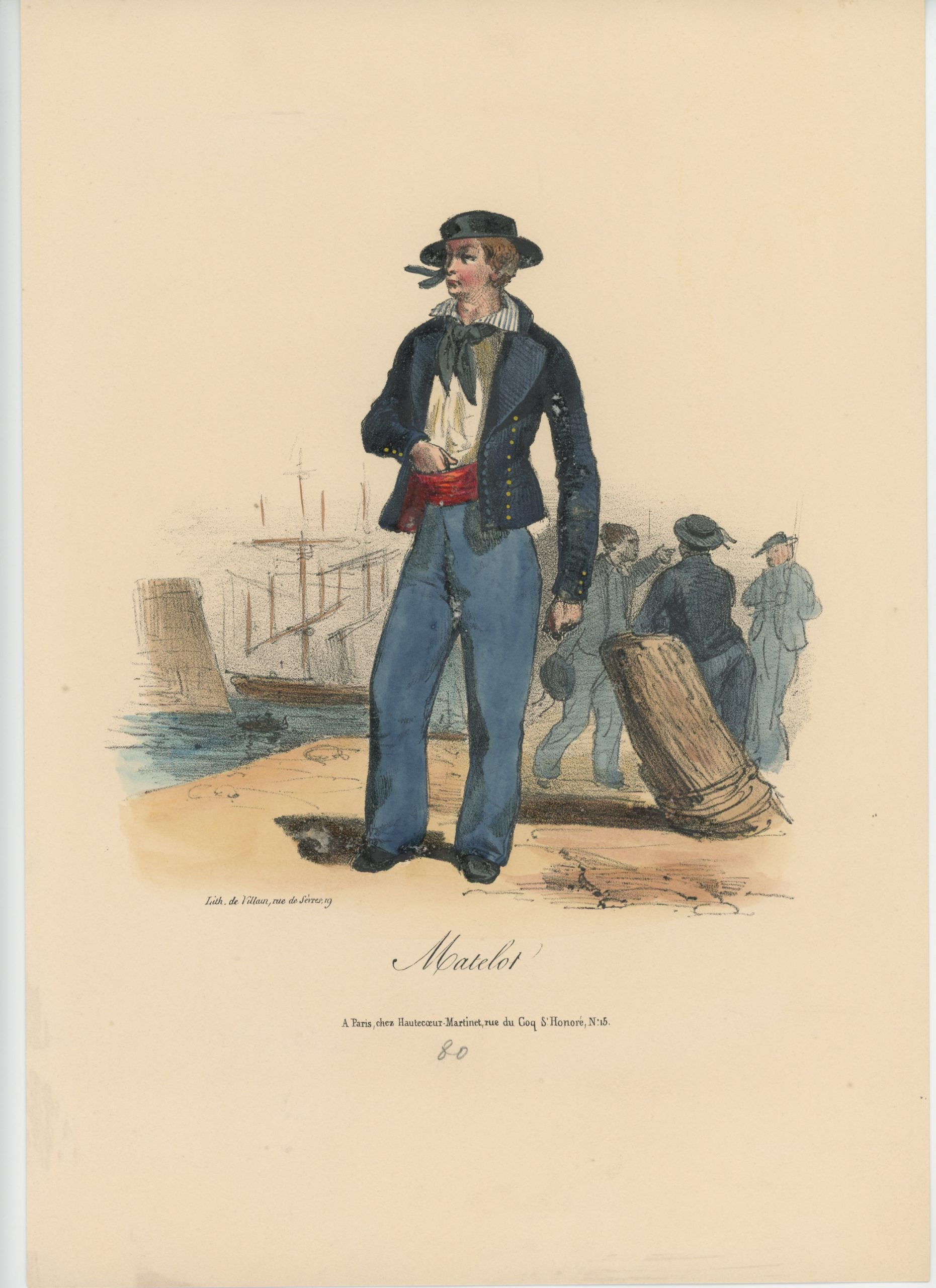 Gravure XIX - Martinet - L'armée française - Uniforme -Soldat - Monarchie de Juillet - 1830 et 1848 - Marine Française Matelot