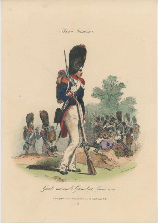 Gravure XIX - Martinet - L'armée française - Uniforme -Soldat - Monarchie de Juillet - 1830 et 1848 - Garde Nationale Grenadier
