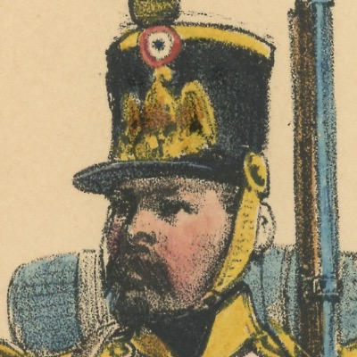 Gravure XIX - Martinet - L'armée française - Uniforme -Soldat - Monarchie de Juillet - 1830 et 1848 - Infanterie légère Voltigeur
