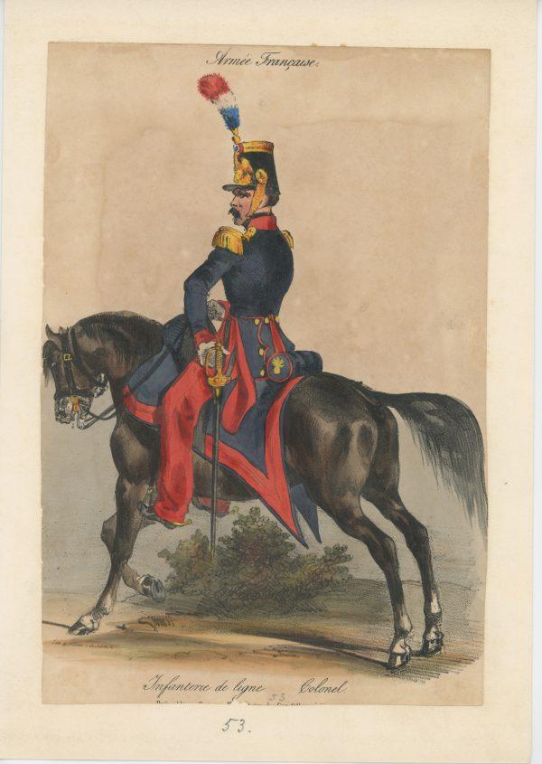 Gravure XIX - Martinet - L'armée française - Uniforme -Soldat - Monarchie de Juillet - 1830 et 1848 - Infanterie Ligne Colonel