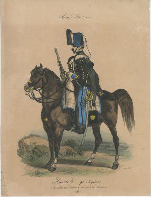 Gravure XIX - Martinet - L'armée française - Uniforme -Soldat - Monarchie de Juillet - 1830 et 1848 - Hussard 9ème régiment