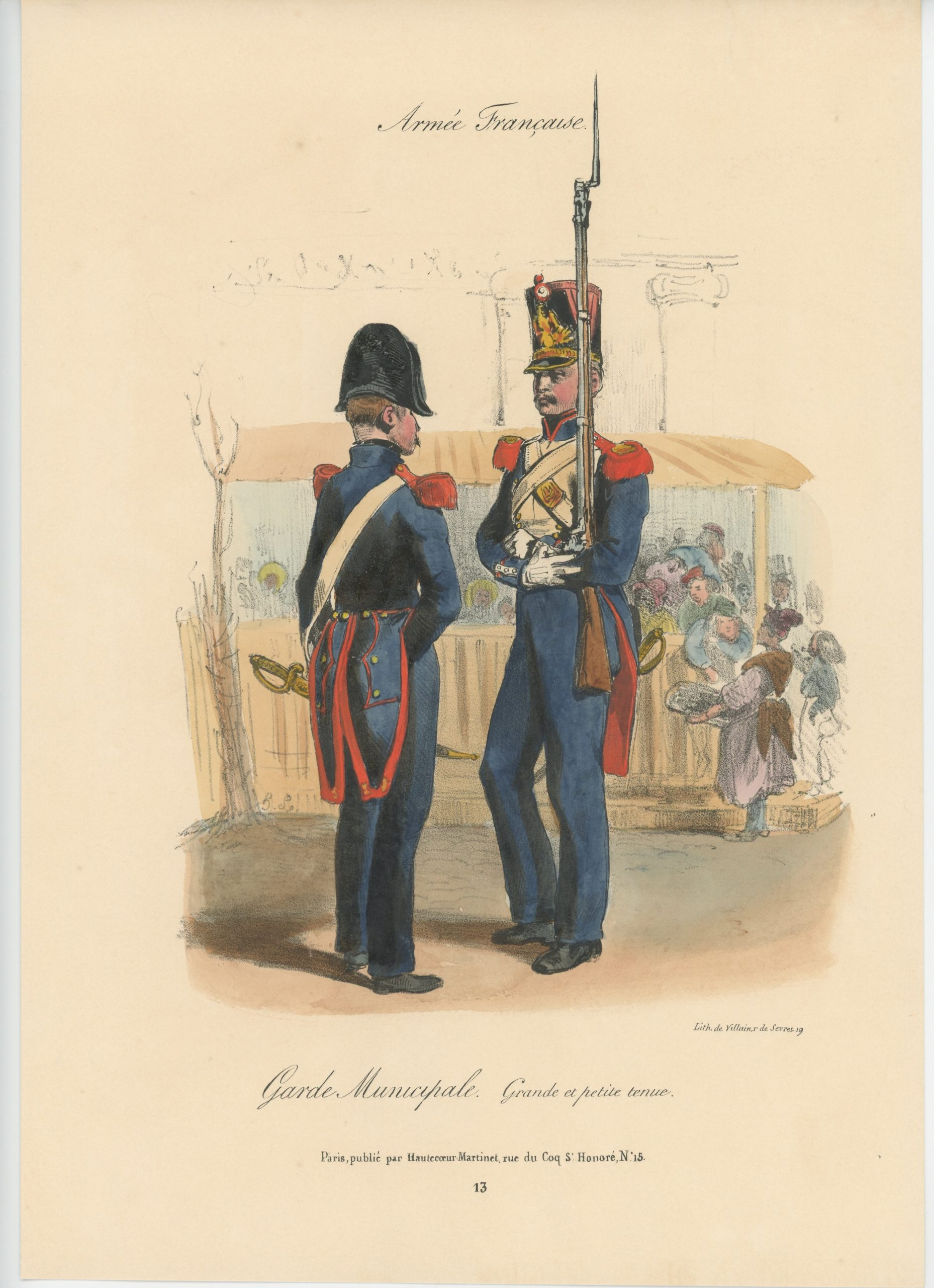 Gravure XIX - Martinet - L'armée française - Uniforme -Soldat - Monarchie de Juillet - 1830 et 1848 - Garde Municipale