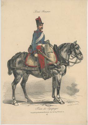 Gravure XIX - Martinet - L'armée française - Uniforme -Soldat - Monarchie de Juillet - 1830 et 1848 - Train des équipages