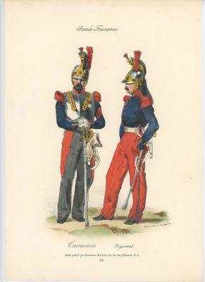 Gravure XIX - Martinet - L'armée française - Uniforme -Soldat - Monarchie de Juillet - 1830 et 1848 - Cuirassier