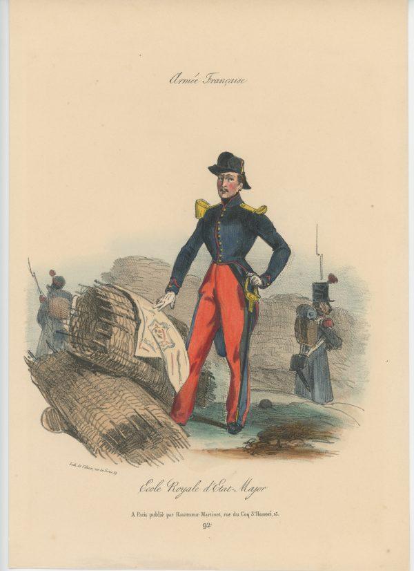 Gravure XIX - Martinet - L'armée française - Uniforme -Soldat - Monarchie de Juillet - 1830 et 1848 - Ecole Royale d'Etat Majpr