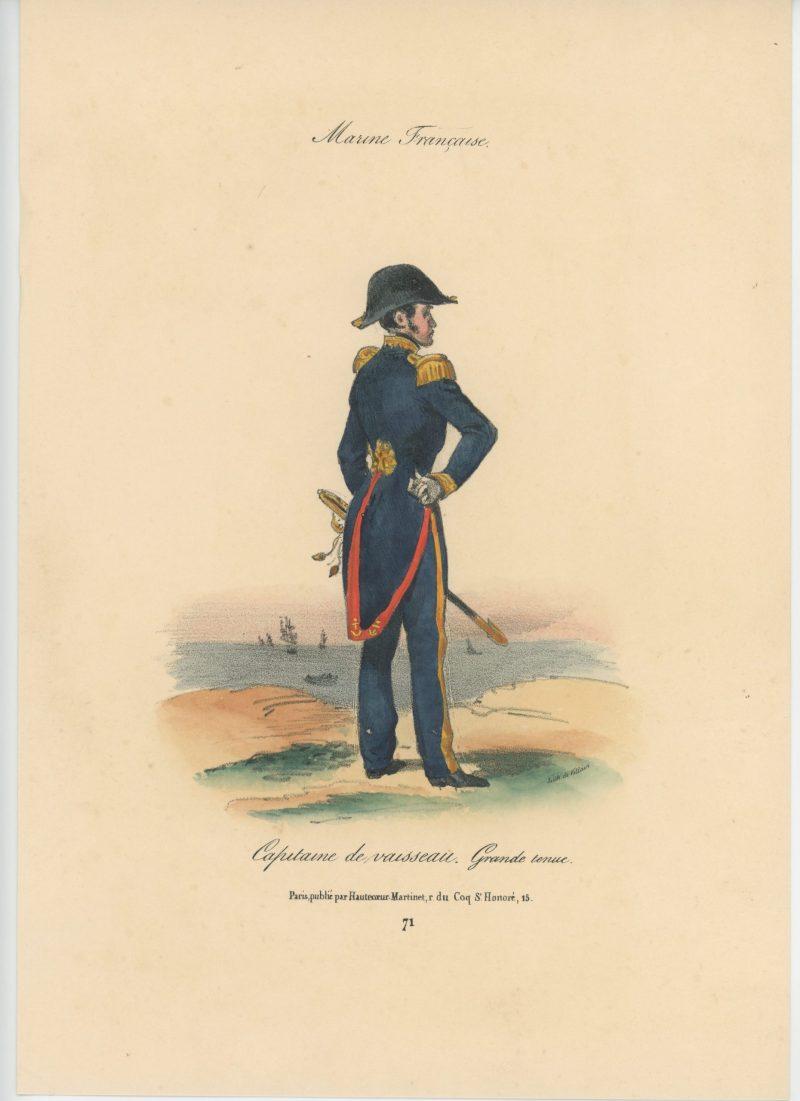 Gravure XIX - Martinet - L'armée française - Uniforme -Soldat - Monarchie de Juillet - 1830 et 1848 - Capitaine de Vaisseau