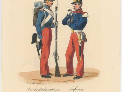 Gravure XIX - Martinet - L'armée française - Uniforme -Soldat - Monarchie de Juillet - 1830 et 1848 - Ouvrier administration - Infirmier