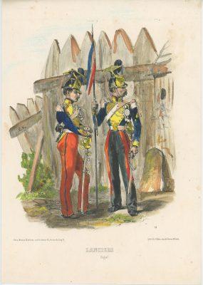 Gravure XIX - Martinet - L'armée française - Uniforme -Soldat - Monarchie de Juillet - 1830 et 1848 - Lanciers