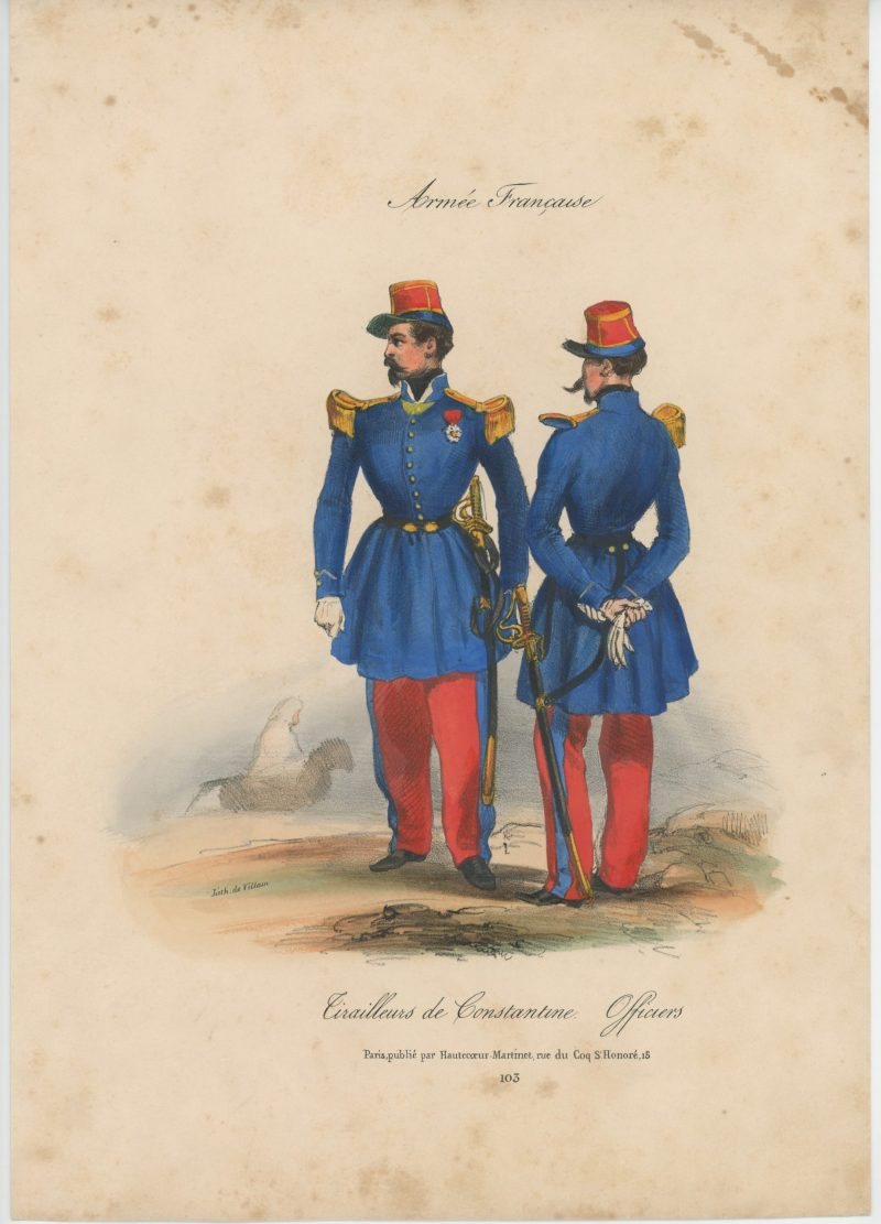 Gravure XIX - Martinet - L'armée française - Uniforme -Soldat - Monarchie de Juillet - 1830 et 1848 - Tirailleurs de Constantine Officiers