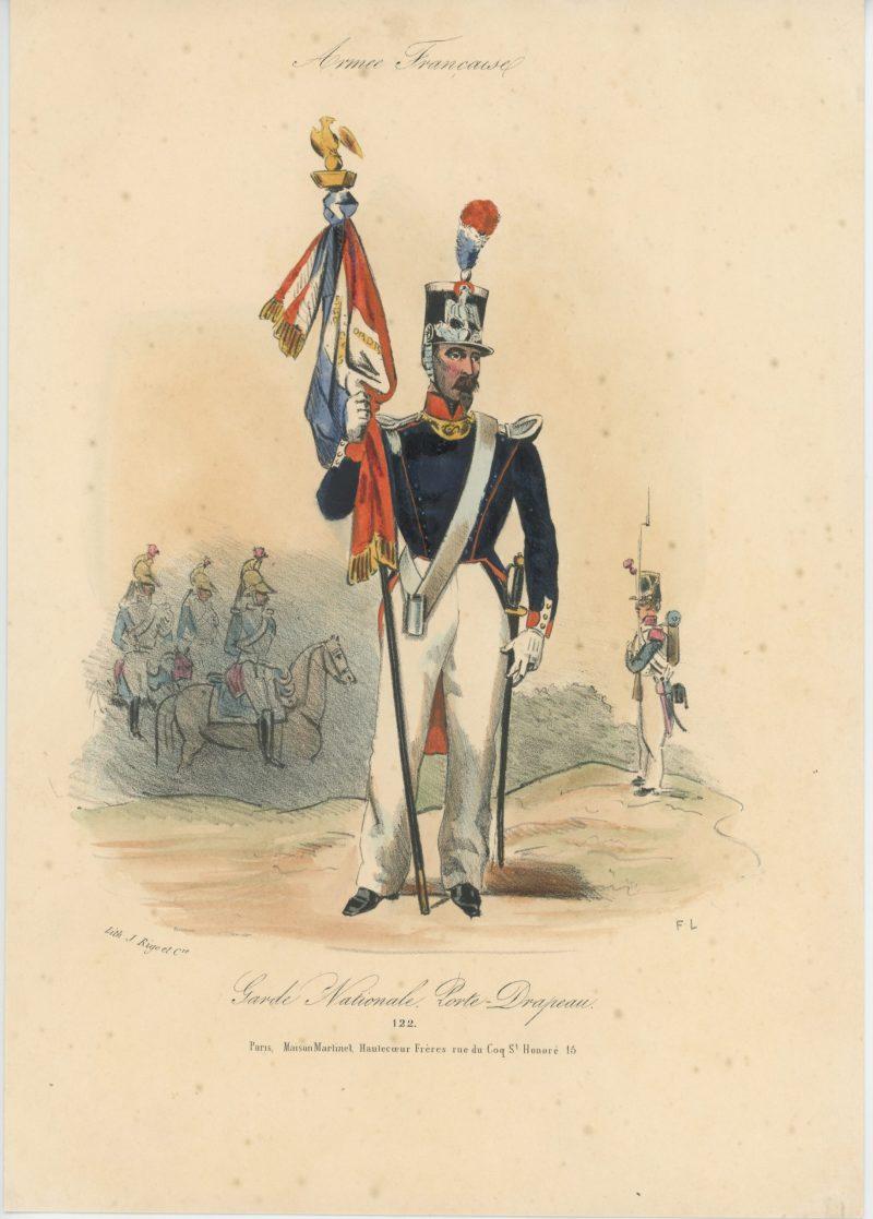 Gravure XIX - Martinet - L'armée française - Uniforme -Soldat - Monarchie de Juillet - 1830 et 1848 - Garde Nationale Porte drapeau
