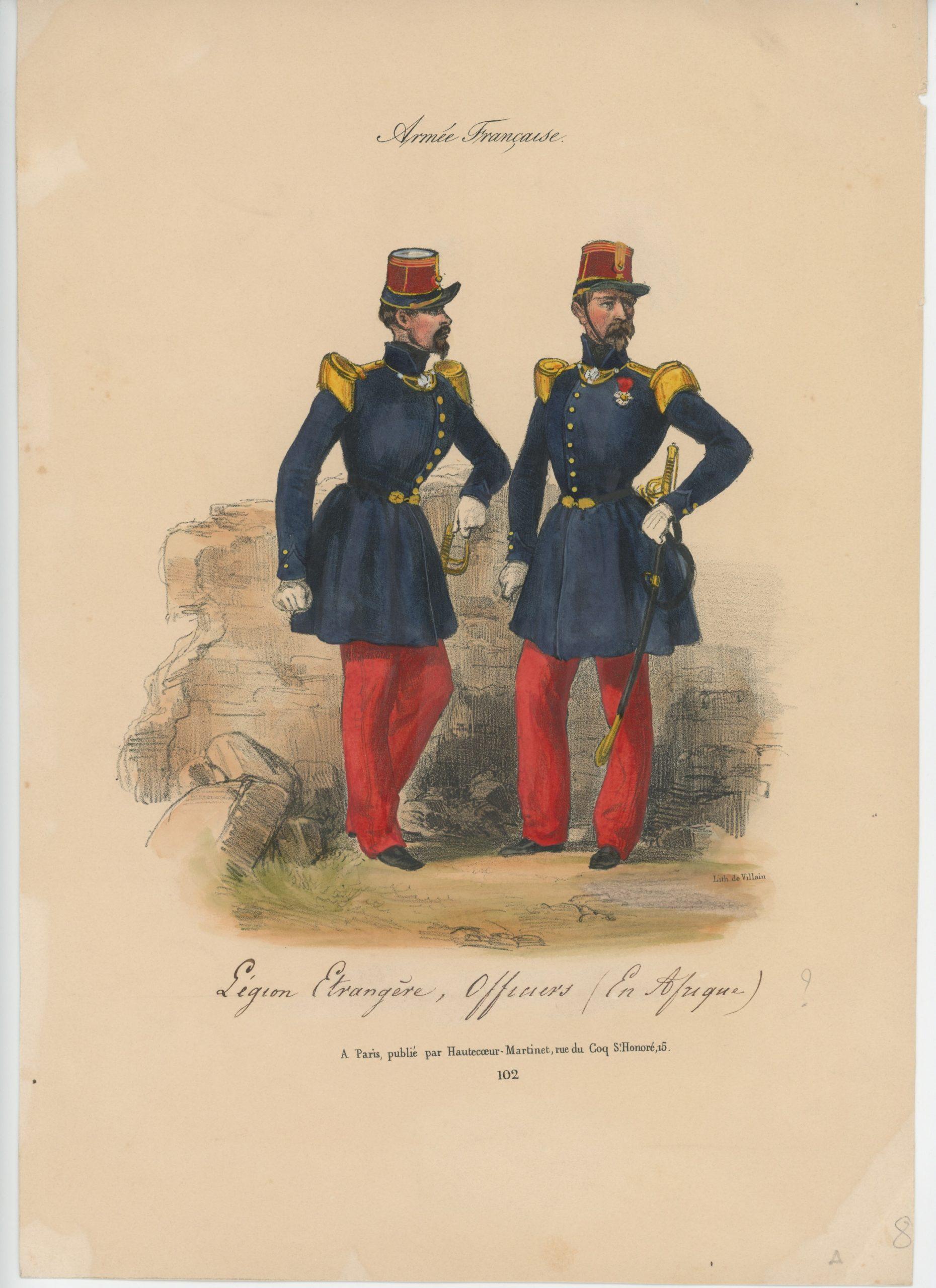 Gravure XIX - Martinet - L'armée française - Uniforme -Soldat - Monarchie de Juillet - 1830 et 1848 - Légion Etrangère Officier