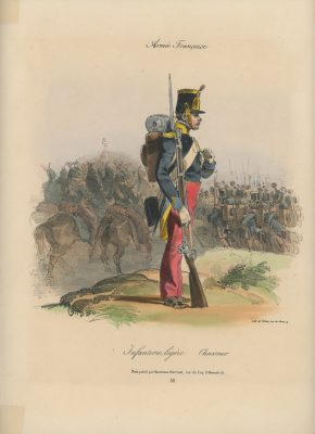 Gravure XIX - Martinet - L'armée française - Uniforme -Soldat - Monarchie de Juillet - 1830 et 1848 - Infanterie Légère Chasseur