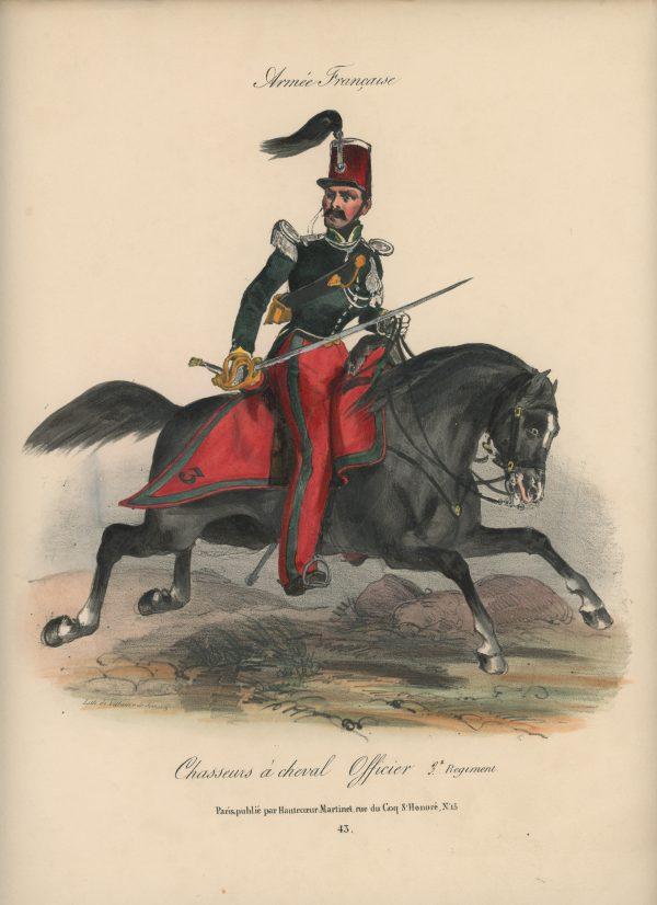 Gravure XIX - Martinet - L'armée française - Uniforme -Soldat - Monarchie de Juillet - 1830 et 1848 - Chasseur à Cheval Officier