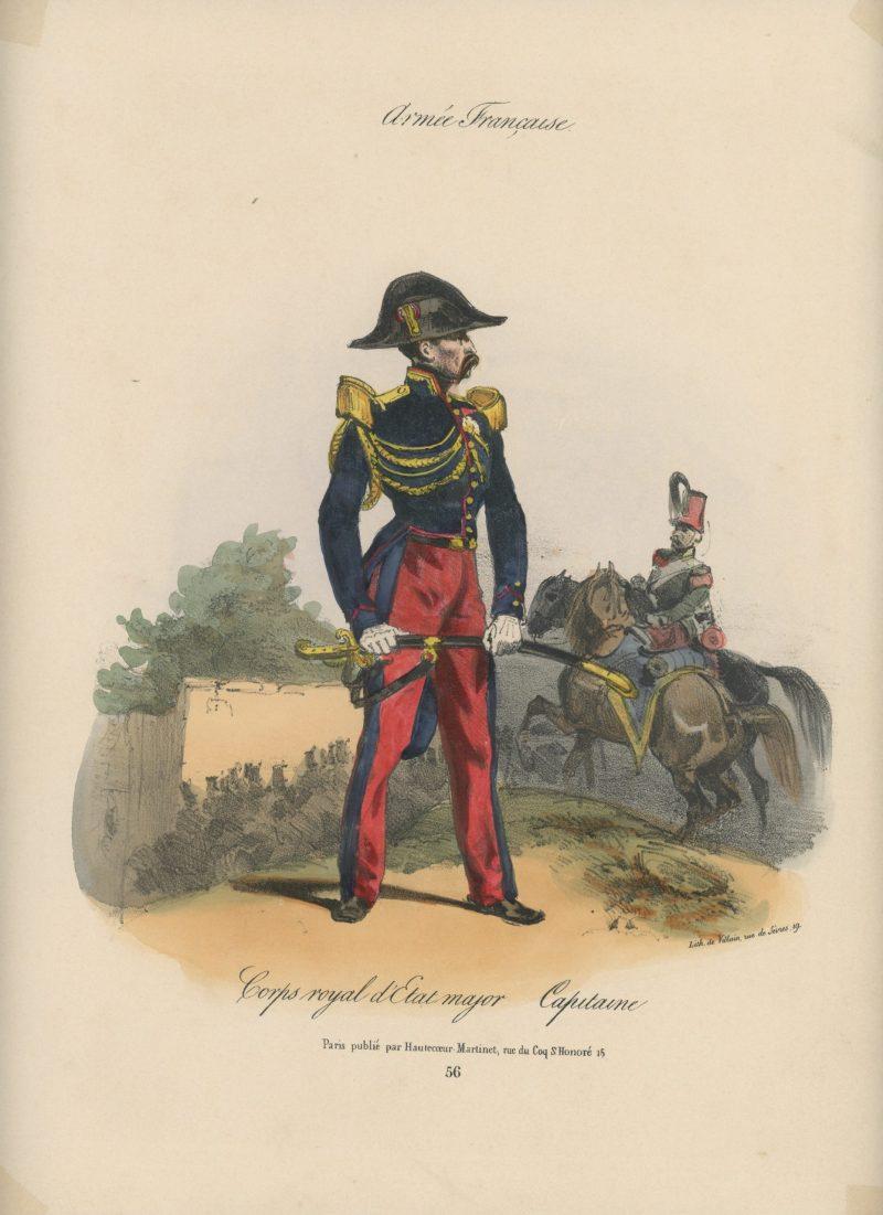 Gravure XIX - Martinet - L'armée française - Uniforme -Soldat - Monarchie de Juillet - 1830 et 1848 - Corps Royal d'Etat Major