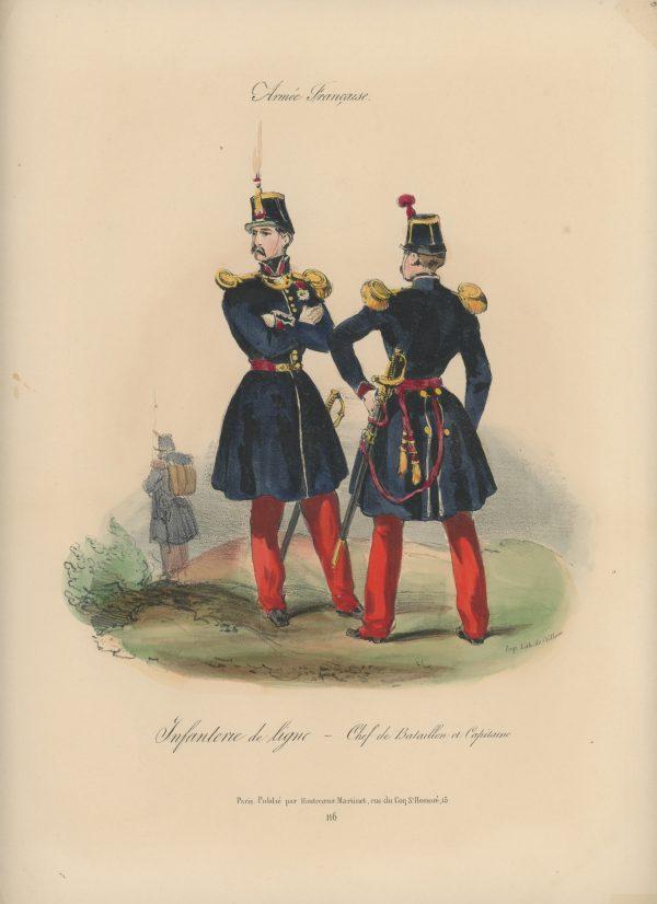 Gravure XIX - Martinet - L'armée française - Uniforme -Soldat - Monarchie de Juillet - 1830 et 1848 - Infanterie de Ligne