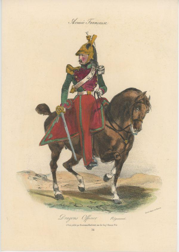 Gravure XIX - Martinet - L'armée française - Uniforme -Soldat - Monarchie de Juillet - 1830 et 1848 - Dragons à Cheval Officier