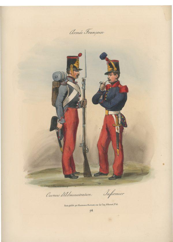 Gravure XIX - Martinet - L'armée française - Uniforme -Soldat - Monarchie de Juillet - 1830 et 1848 - Ouvrier d'administration - Infirmier