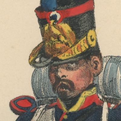 Gravure XIX - Martinet - L'armée française - Uniforme -Soldat - Monarchie de Juillet - 1830 et 1848 - Infanterie de ligne - Musicien