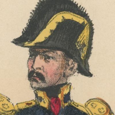 Gravure XIX - Martinet - L'armée française - Uniforme -Soldat - Monarchie de Juillet - 1830 et 1848 - Maréchal de Camp
