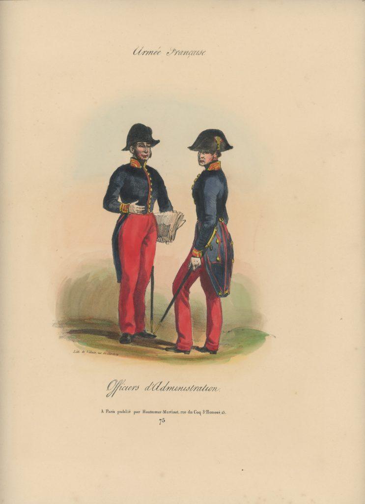 Gravure XIX - Martinet - L'armée française - Uniforme -Soldat - Monarchie de Juillet - 1830 et 1848 - Officier d'administration