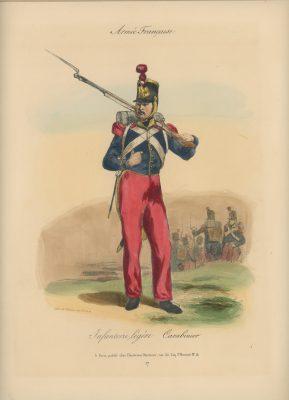 Gravure XIX - Martinet - L'armée française - Uniforme -Soldat - Monarchie de Juillet - 1830 et 1848 - Infanterie Lègère Carabinier