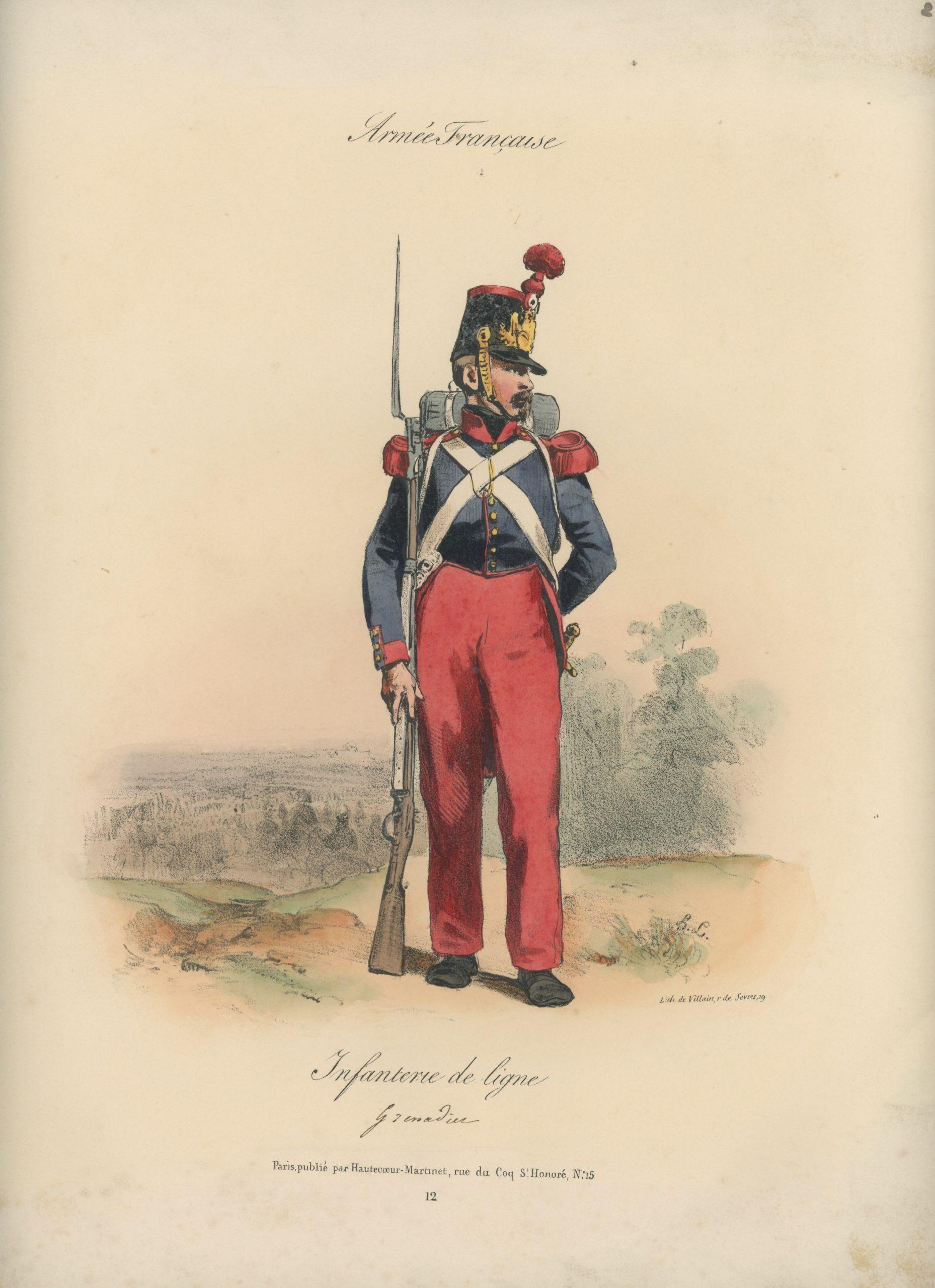 Gravure XIX - Martinet - L'armée française - Uniforme -Soldat - Monarchie de Juillet - 1830 et 1848 - Infanterie de Ligne Grenadier