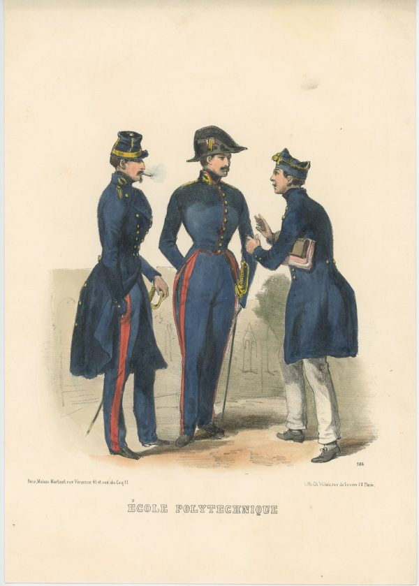 Gravure XIX - Martinet - L'armée française - Uniforme -Soldat - Monarchie de Juillet - 1830 et 1848 - École Polytechnique