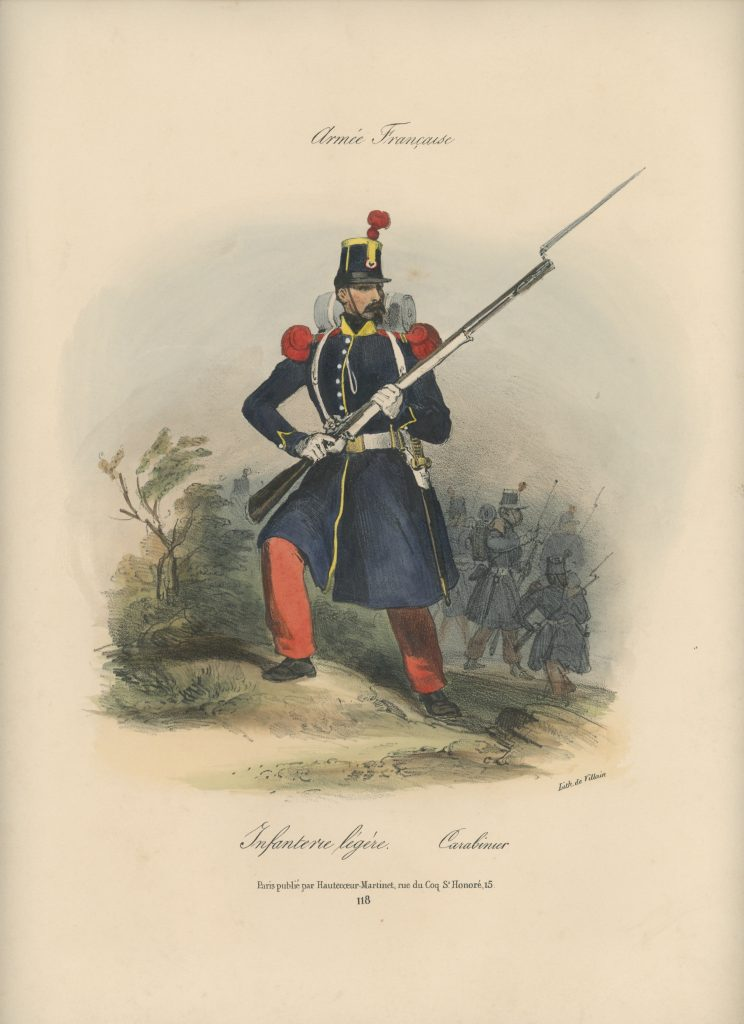 Gravure XIX - Martinet - L'armée française - Uniforme -Soldat - Monarchie de Juillet - 1830 et 1848 - Infanterie Légère Carabinier