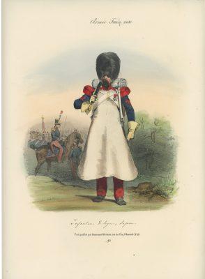 Gravure XIX - Martinet - L'armée française - Uniforme -Soldat - Monarchie de Juillet - 1830 et 1848 - Infanterie de Ligne Sapeur