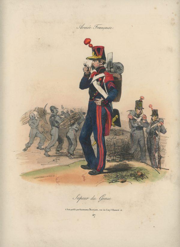 Gravure XIX - Martinet - L'armée française - Uniforme -Soldat - Monarchie de Juillet - 1830 et 1848 - Sapeur du Genie