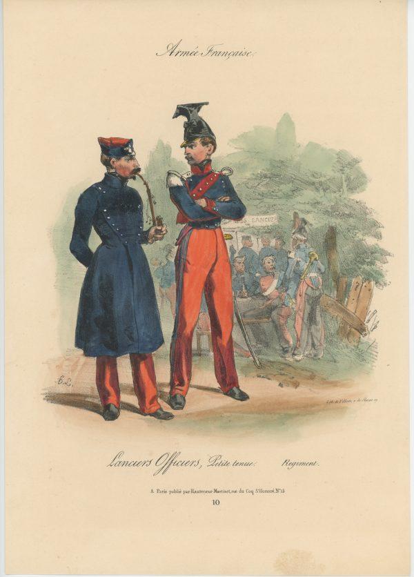 Gravure XIX - Martinet - L'armée française - Uniforme -Soldat - Monarchie de Juillet - 1830 et 1848 - Lanciers Officiers