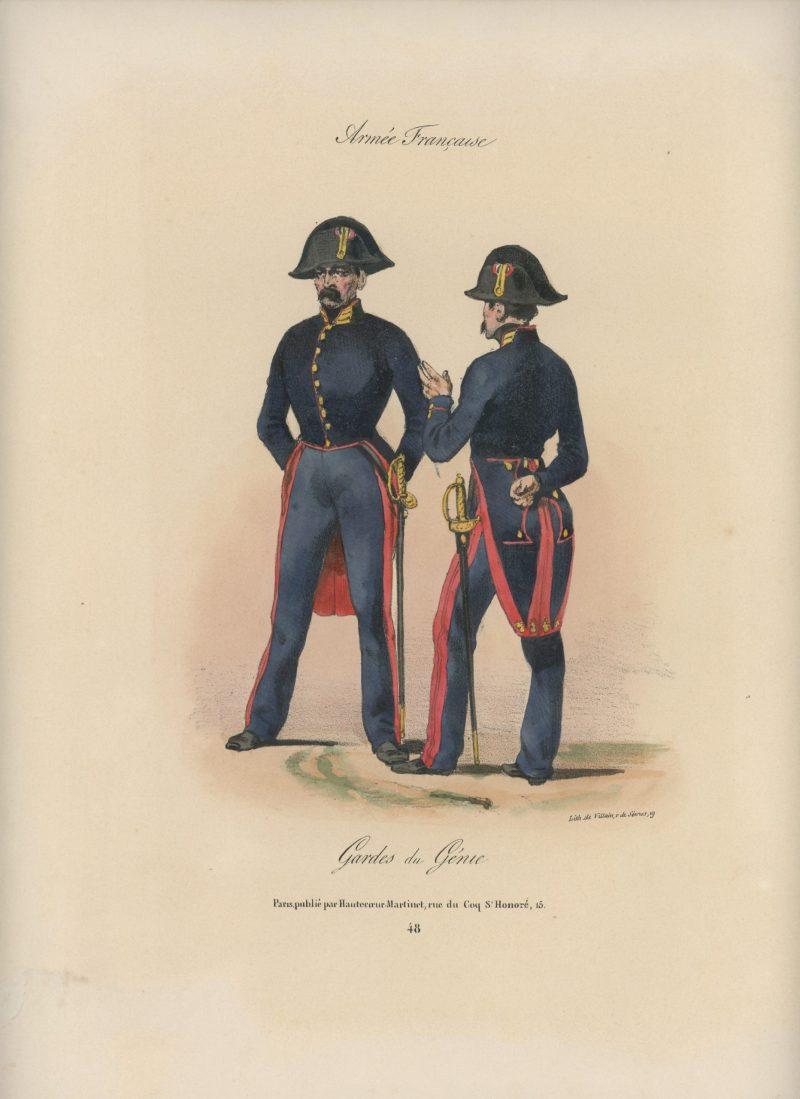 Gravure XIX - Martinet - L'armée française - Uniforme -Soldat - Monarchie de Juillet - 1830 et 1848 - Garde du Génie