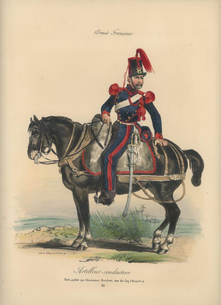 Gravure XIX - Martinet - L'armée française - Uniforme -Soldat - Monarchie de Juillet - 1830 et 1848 - Artilleur Conducteur