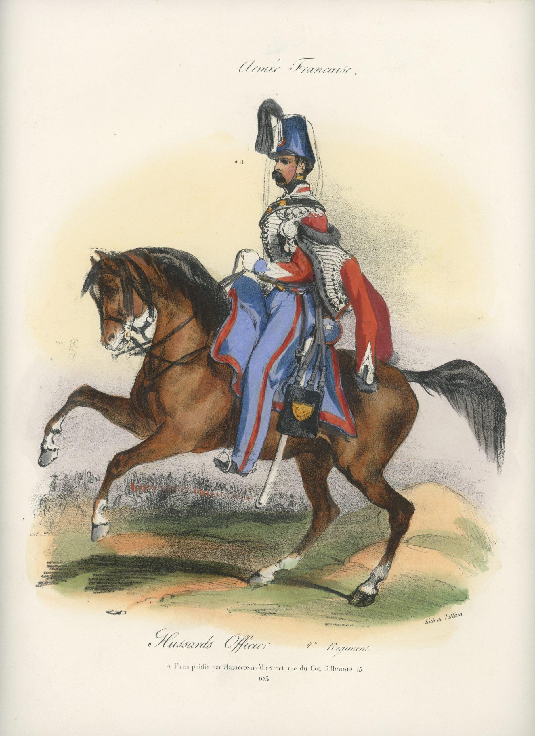 Gravure XIX - Martinet - L'armée française - Uniforme -Soldat - Monarchie de Juillet - 1830 et 1848 - Hussards 4 régiment Officier