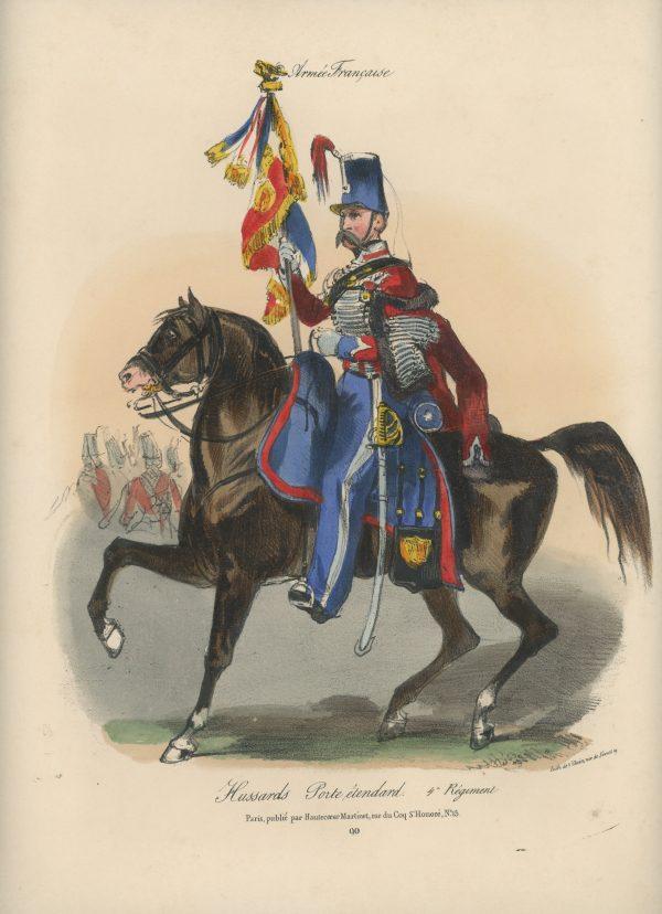 Gravure XIX - Martinet - L'armée française - Uniforme -Soldat - Monarchie de Juillet - 1830 et 1848 - Hussards 4 régiment Etendard
