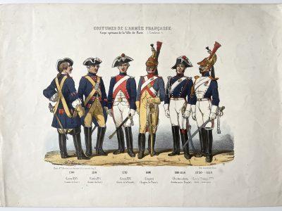 Planche ancienne sur l'armée Française - Charles Vernier - Costumes de l'armée Française - Ville de Paris - Rehaussée à la main - Corps Spéciaux