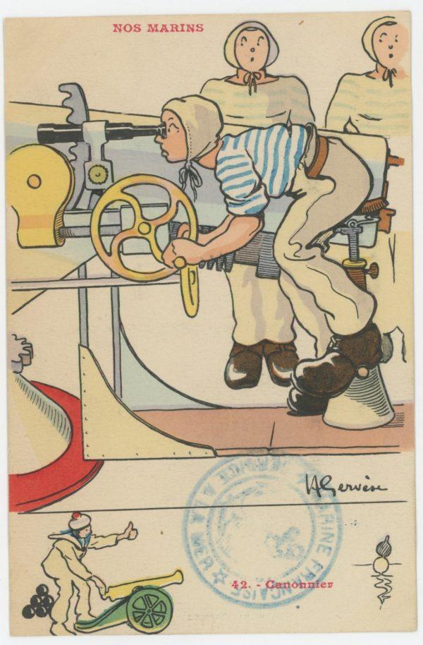 Lot 56 Cartes Postale Illustrée - Marine Française - Marin - Port - Henri Gervèse - La vie du Marin