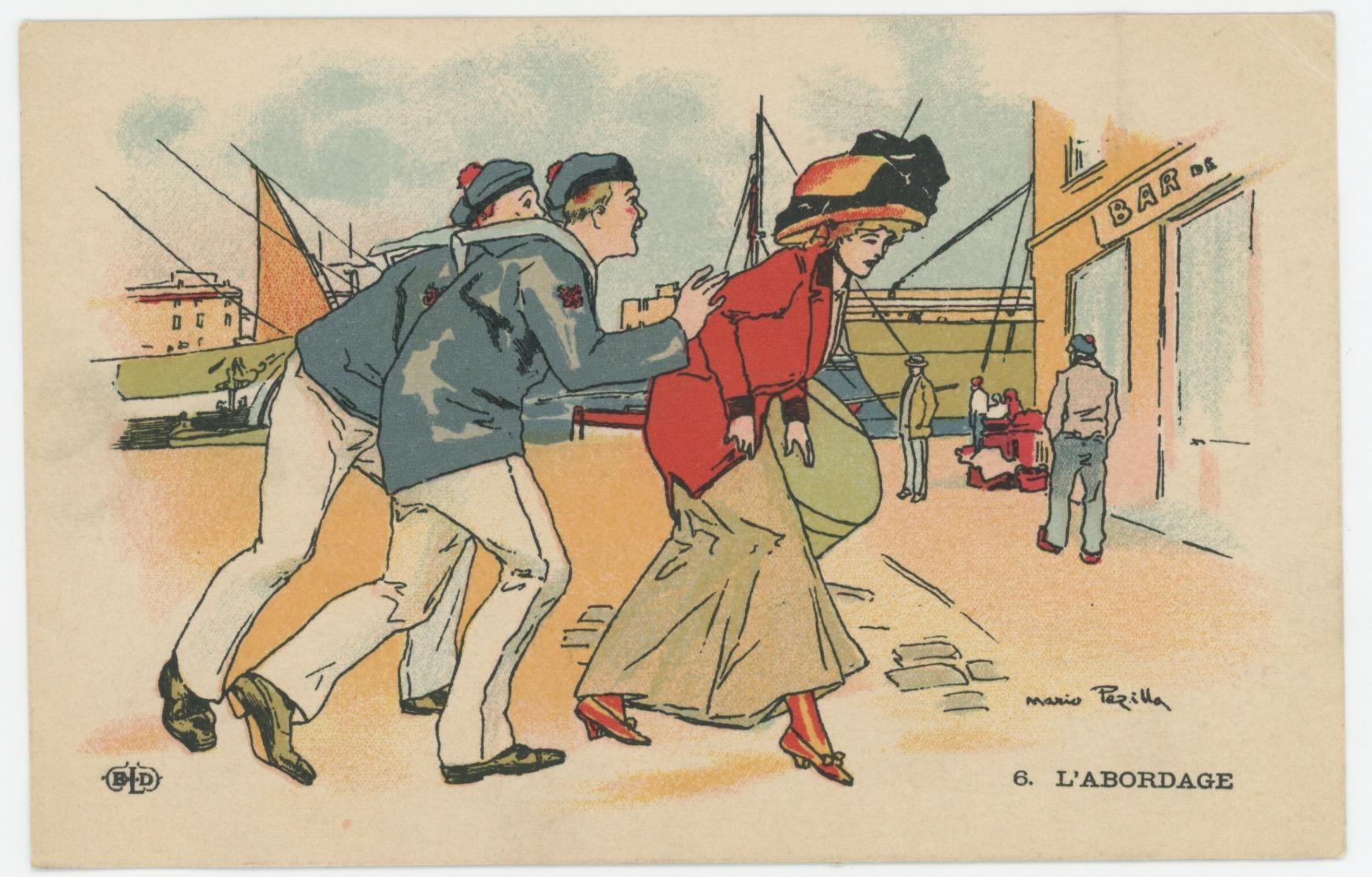 Lot 12 Cartes Postale Illustrée - Marine Française - Marin - Port - MARIO PEZILLA (actif vers 1900 ) - La vie du Marin