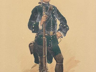 Peinture originale rehaussée - Edmond Lajoux - Chasseur Soldat - Uniforme - Armée Française